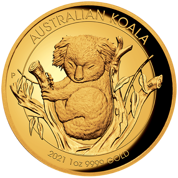 Koala 1 uncja Złota 2021 Proof High Relief
