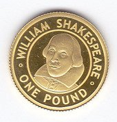 William Shakespeare 1/25 uncji Złota 2006 Proof