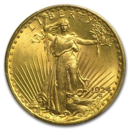 Saint-Gaudens Gold Double Eagle 20 Dollar 1924 Stan 2-