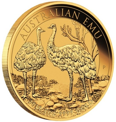 Australijski Emu 1 uncja Złota 2019 MS 70 NGC First Day of Issue
