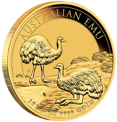 Australijski Emu 1 uncja Złota 2020 MS 70 NGC First Day of Issue