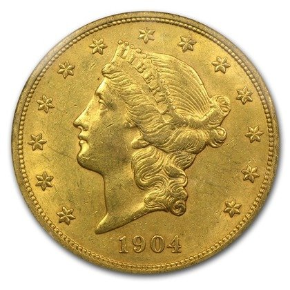 Liberty Double Eagle  20 Dollar 1904 Stan 2-
