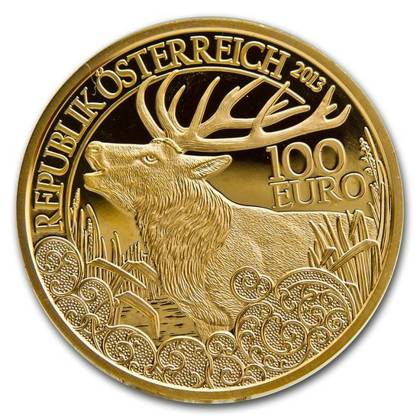 Wildlife in our Sights: Jeleń szlachetny 100 Euro 2013 Proof